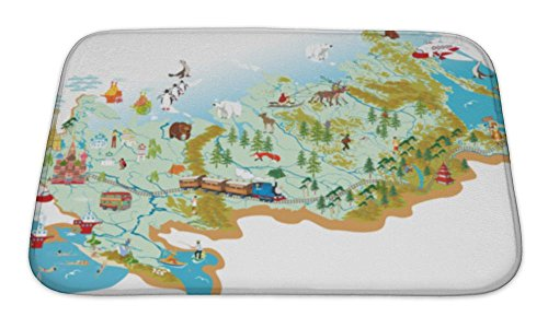 Gear New Bath Mat For Bathroom  Memory Foam Non Slip  Cartoon Map Of Russia With A Symbol Of Moscow St Basils Cathedral A Symbol Of  24X17  5005792Gn