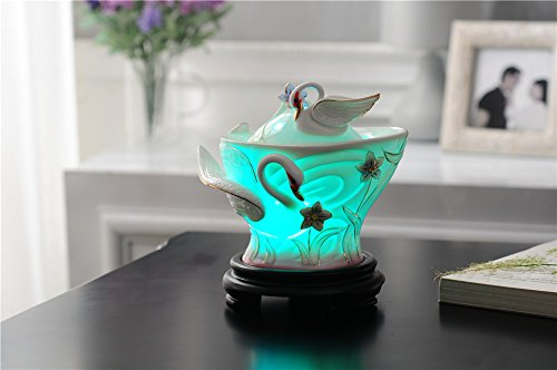 Delicate Swan - Deerbird Delicate Swans 180ml Aroma Essential Oil Cool Mist Humidifier with Adjustable Mist Mode Beauty Air Purification Diffuser Home Office Gift (Purple)