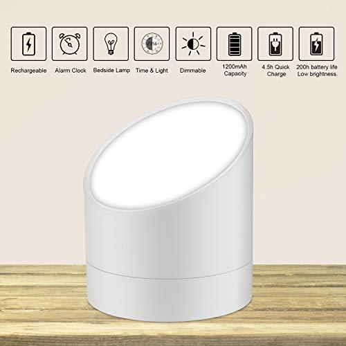 LED Alarm Clock, Jayol Digital Alarm Clock LED Light, Rechargeable Alarm Clocks Light, Stylish Bedside Lamp Dual Alarm, Simple Operation Clocks Bedroom,Office,Nursery Kitchen