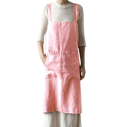 Huazi2 Women Cotton Linen Pinafore Square Apron Garden Work Pinafore Dress Pink ()
