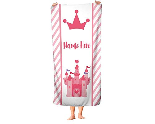 Extra Large Personalized Pink Princess Towel for Kids - Oversized Custom Travel Beach Pool and Bath Towels for Adults Toddler Baby Boys Girls