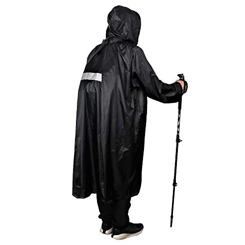 Anyoo Waterproof Rain Poncho Lightweight Reusable Hiking Hooded Coat Jacket for Outdoor Activities R - Coat Hooded Sleeve