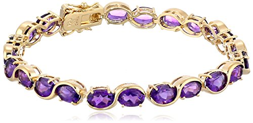 18k Yellow Gold-Plated Sterling Silver and African Amethyst Tennis Bracelet