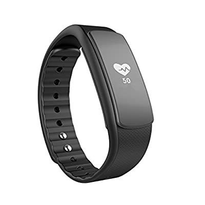 iWOWNfit i6 HR Fitness Tracker, Heart Rate Monitor Smart Watch Bracelet Sport Smartband For Android/IOS Cellphone (Black) ...