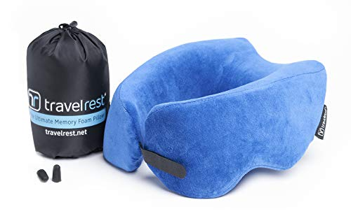 (Travelrest Ultimate Memory Foam Travel Pillow/Neck Pillow - Therapeutic, Ergonomic & Patented - Washable Cover - Most Comfortable Neck Pillow - Compresses to 1/4 of its Size (2 Year Warranty) (Blue))