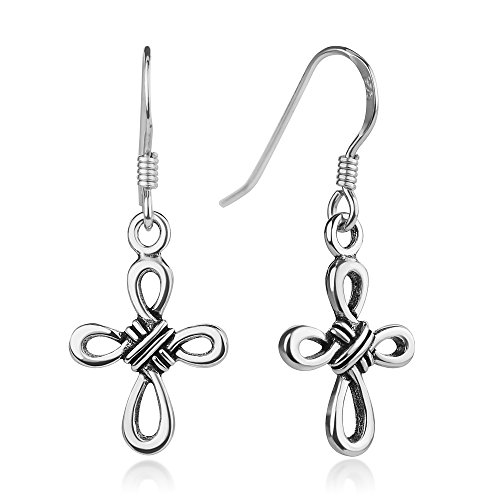 925 Oxidized Sterling Silver Celtic Knot Cross Dangle Hook Earrings 1.2 inches by Chuvora