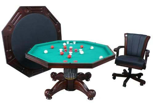 """3 in 1 Game Table - Octagon 54"""" Bumper Pool, Poker & Dining"""