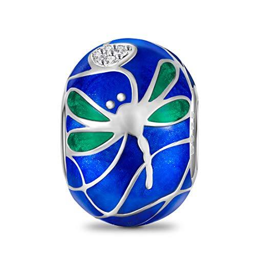 DALARAN 925 Sterling Silver Dragonfly Charms Blue Enamel Animal Bead for European Bracelet Snake Chain