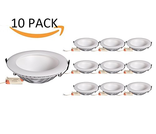 Camuse illume (10 PACK) 18Watt 6-inch LED Ceiling Light Recessed Lighting Fixture Retrofit Downlight 4000K Nature White CRI80+, Round Flush Mount Lighting, Ceiling Down lighting for Room Office by CAMUSE ILLUME