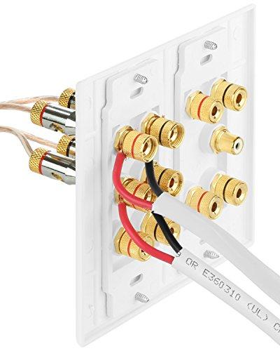 Fosmon (distribución envolvente 5.1 de 2 bandas) Placa de pared para cine en casa - Placa de pared tipo acoplador de poste de unión de banana de cobre chapado en oro de primera calidad para altavoces y conector RCA para subwoofer (blanco)