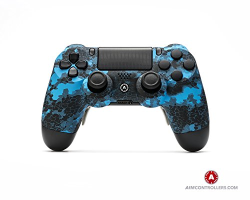 AimControllers PS4 Custom Wireless Controller, Playstation 4 Personalized Gamepad with 4 Paddles - Blue Old 1