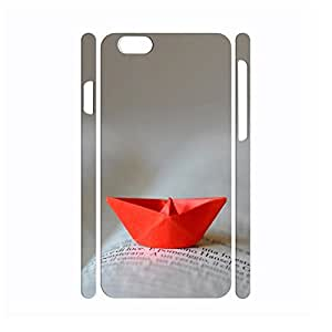 Red Paper Boat Image Design Artistic Collection Solid Slim Fit Case Cover for Iphone 6 (4.7 Inch)
