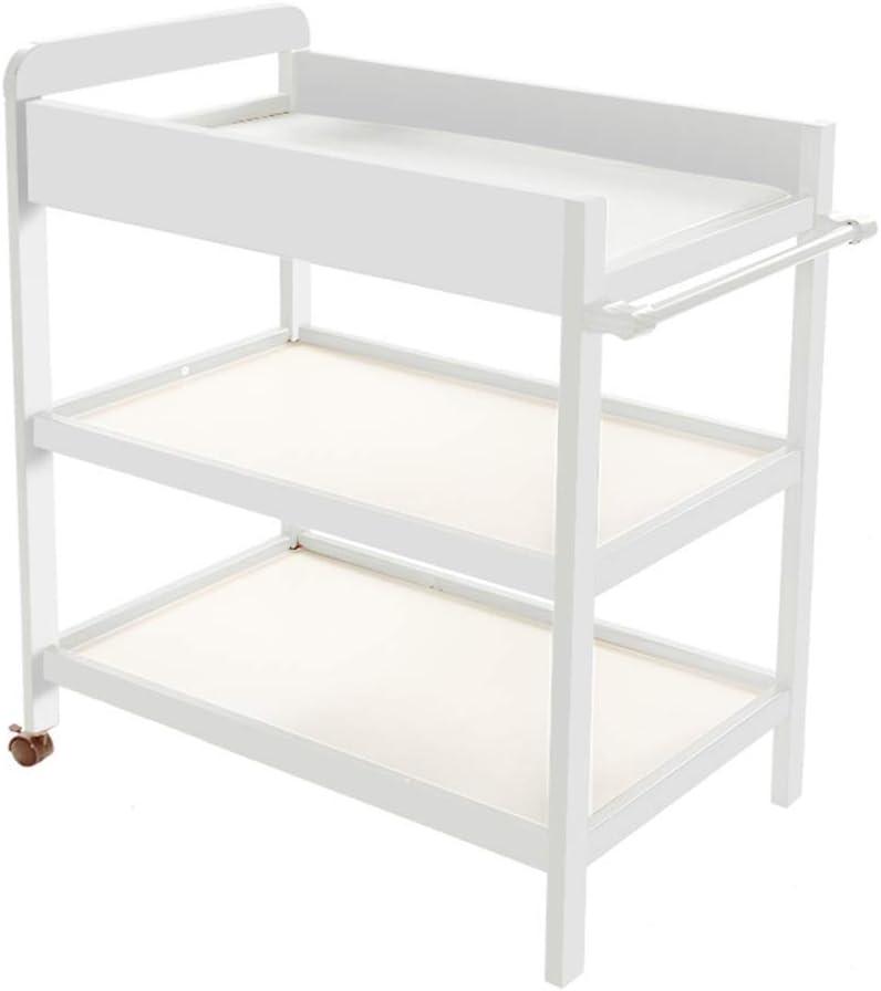 ホイールを単位ベビーケアステーションベビータッチテーブルマッサージベッドを変更する可動新生児ベビーおむつ表ソリッドウッド (Color : White)