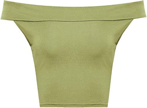WearAll Women's Off Shoulder Plain Short Crop Bandeau Open Cowl Neck Top - Khaki Green - US S/M=4-6 (UK M/L=8-10)