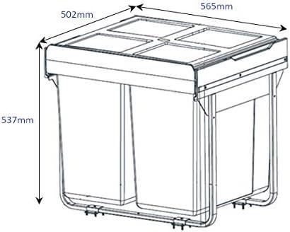 2x45L Handle /& Home 90 Litre Dark Grey Base Mounted Bin for 600mm Cabinet