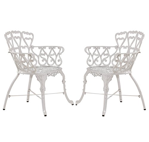 Antique Victorian Cast Aluminum Patio Dining Chairs – White Heart, Set of Two Prodct SKU: PF01022C