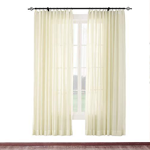 (cololeaf Premium Pinch Pleat Sheer Curtains Indoor Outdoor Living Room | Bedroom | Kidsroom | Classroom| Hotel - Ivory 100