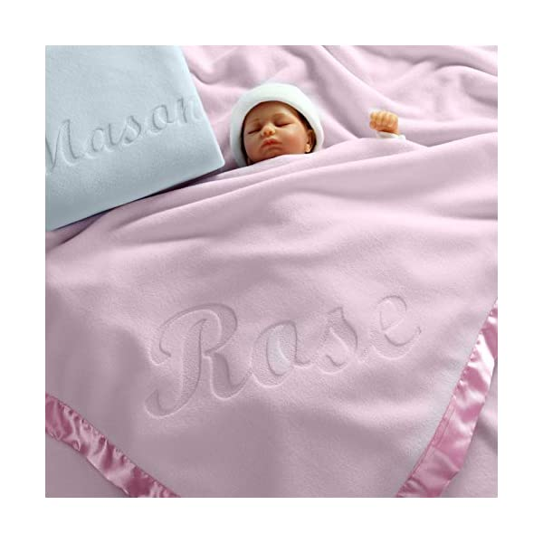 Large Personalized Baby Blanket (Pink) – 36×36 Inch, Satin Trim, Fleece
