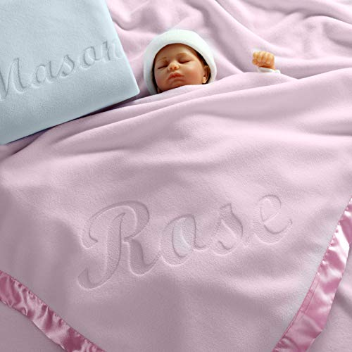 Large Personalized Baby Blanket (Pink) - 36x36 Inch, Satin Trim, Fleece Bloomers Baby Birthday Box