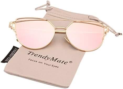 TrendyMate-Womens Street Fashion Metal Twin Beam Flat Mirror Lens Cat Eye Sunglasses