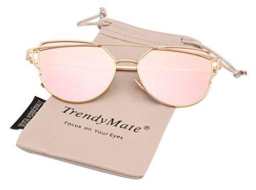TrendyMate-Womens Street Fashion Metal Twin Beam Flat Mirror Lens Cat Eye Sunglasses (Gold / Rose Pink, 0)