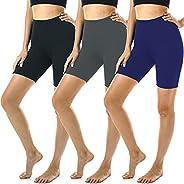 "FULLSOFT 3 Pack Biker Shorts for Women - 7"" Soft Spandex Shorts for Summer Workout Running Yoga Athletic-"