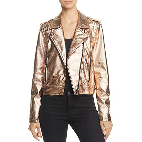 [BLANKNYC] Blank NYC Womens Metallic Faux Leather Motorcycle Jacket - Metallic Leather Jacket Motorcycle