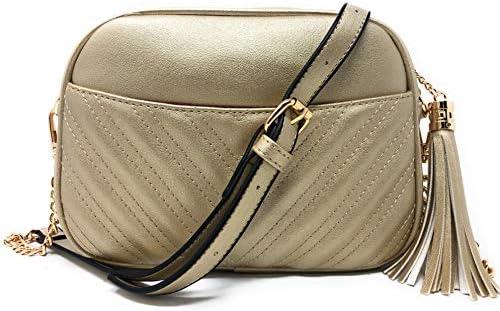 Color Block Stripe Accent Chevron Quilted Shoulder Bag Crossbody