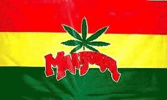 Rastafarian Cannabis On Ethiopia Hanging 3/'x5/' Flag