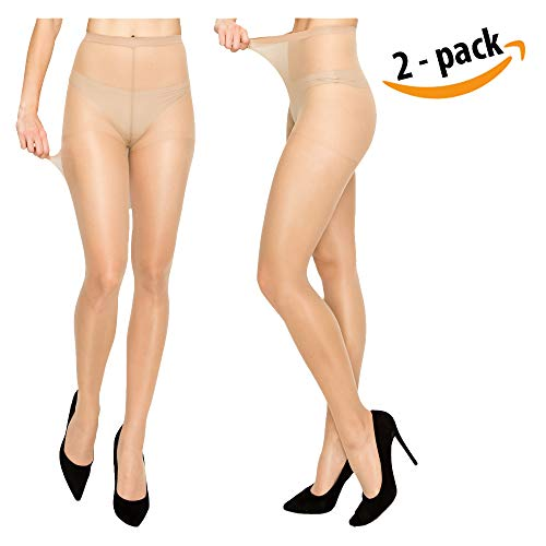 (Women High Support Pantyhose Stockings - 2 Packs of Silky Soft Light weight Comfortable Stretchy Waistband Sheer Nylon and Spandex Hosiery Panty hose with Reinforced Toe for Woman - Plussize)