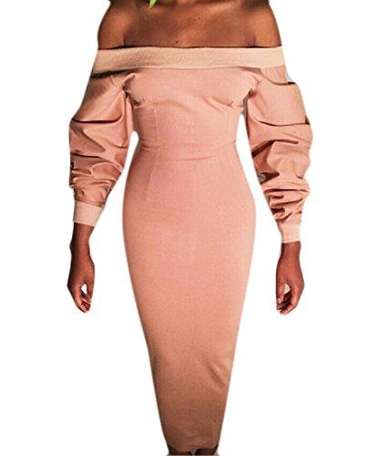 Coolred-femmes Épissures Pur Blazer Couleur Épaule Élégante De Robe Moulante Rose