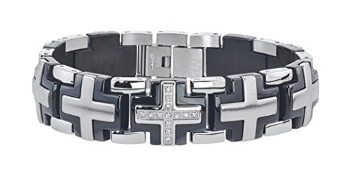 Mens Solid Cross Diamond Bracelet in Stainless Steel (0.20 carats. H-I I3)