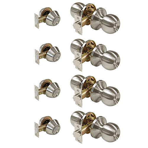 All Keyed Same Entry Door Knobs with Double Cylinder Deadbolt for Exterior Front Doors, Satin Nickel Finish, Keyed Alike for Every Set, Contractor Pack of 4