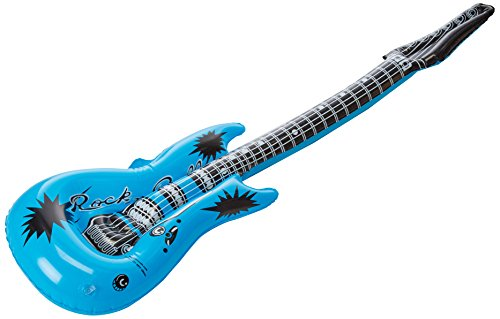 Amscan (395591 Rocking Electric Blue Inflatable Guitar Party Favours Novelty-and-Amusement-Toys (12 Piece)