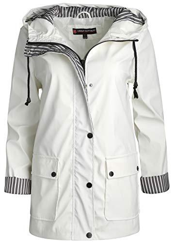 Urban Republic Women\\\'s Lightweight Vinyl Hooded Raincoat Jacket, White, Small\''