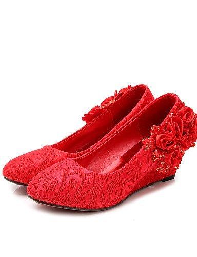 ShangYi Damen - Hochzeitsschuhe - Wedges / Rundeschuh / Geschlossene Zehe - High Heels - Hochzeit - Rot 1in