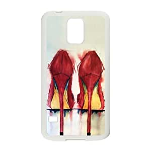 Slim And Stylish Sexy Red High Heel Shoes Pattern Samsung Galaxy S5 SV TPU(Laser Technology) Case Cover for White And Black