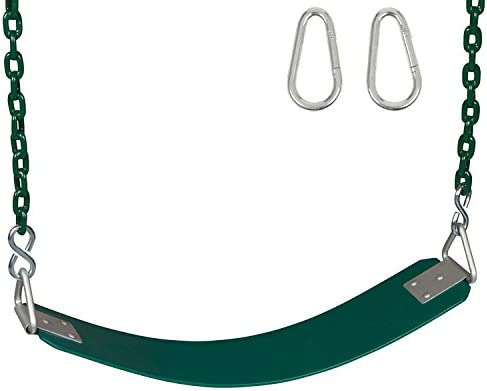 SWING SET STUFF COMMERCIAL POLYMER BELT SEAT GREEN WITH CHAINS AND HOOKS