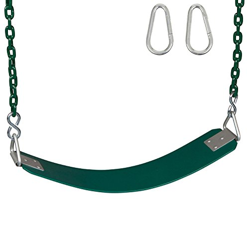 Swing Set Stuff Inc. Swing Set Stuff Commercial Rubber Belt Seat with 5.5 Ft. Coated Chain Sss Logo Sticker, Green -