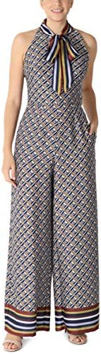 Julia Jordan Women's French Twill Printed Jumpsuit with Bow