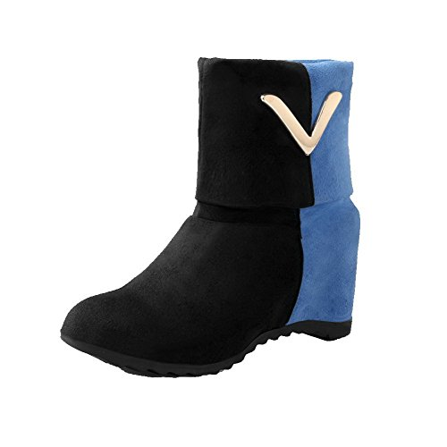 AgooLar Women's Imitated Suede Kitten-Heels Round-Toe Assorted Colors Pull-On Boots Blue