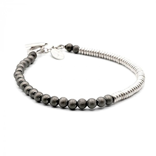 Double Bone (Double Bone Black/Silver PVD Flat/Round Bracelet With Black Beads DBBMRF00SB)