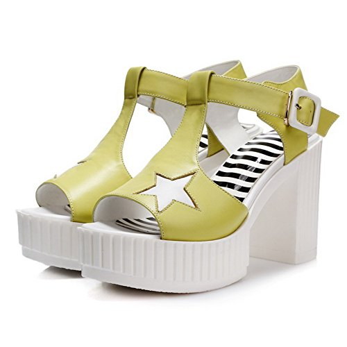 Open Color Buckle Womens AllhqFashion Material High Soft Assorted Sandals Toe Heels LightYellow xqzItzn