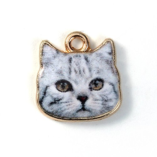 Cute Kitty Cat Face Enameled Gold 13mm Traditional Charm 1pc (Kitty Enameled)