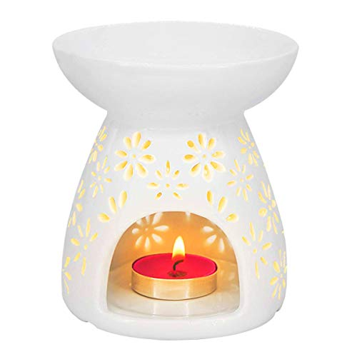 HwaGui - Ceramic Tea Light Holder & Wax Warmer, Aromatherapy Essential Oil Burner, Great Decoration for Living Room, Balcony, Patio, Porch and Garden, Vase Shape