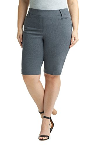 Rekucci Women's Ease In To Comfort Curvy Fit Plus Size Modern City Short (16W,Charcoal) by Rekucci