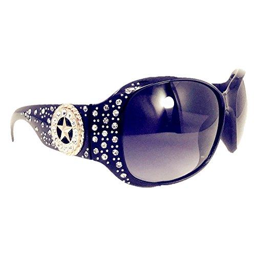 Texas West Star Round Concho Rhinestone Western Bling Sunglasses UV 400 Lens In Multi Colors (Black) (Western Rhinestone Star Concho)