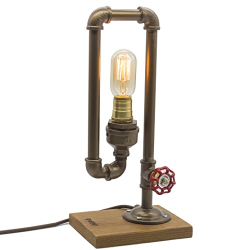 "Y-Nut Loft Style Lamp, ""Different Thinker"", Steampunk Industrial Vintage Style, Wood Base Metal Body, Table Desk Light With Dimmer, LL-017"