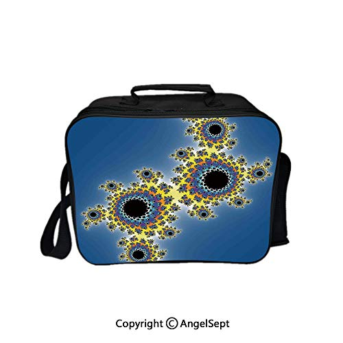 Compartment Lunch Bag for Men, Women,Floral Spiral Unusual Modern Pattern with Rotary Lined Artistic Display Yellow Violet Blue 8.3inch,Lunch Cooler Bag with Shoulder Strap