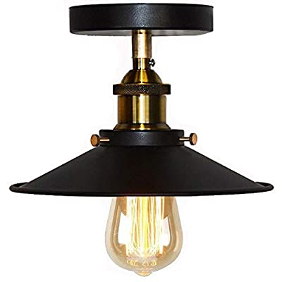 Huahan Haituo Vintage Industrial Farmhouse Semi Flush Mount Copper Ceiling Lamp One Light Fixture with Industrial Black Lamp Shade Downlight